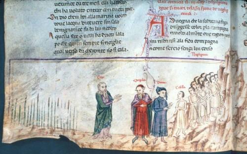 Dante, Divina Commedia, Genova XV secolo, Manoscritto Holkham misc. 48, dettaglio della pagina 60 (Bodleian Library, University of Oxford)