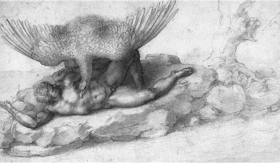 Наказание Тития. Винздор, Королевская библиотека. 1532 г.