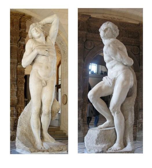 Рабы для гробницы Юлия II. Умирающий раб и Восставший раб. Лувр, 1513-1516 гг.