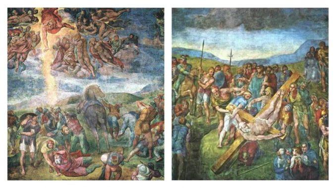 Капелла Паолина1. Обращение Савла (1542-1545) 2. Распятие апостола Петра (1546-1550)