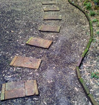 Salvaged brick path and borders