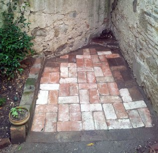 Salvaged brick corner