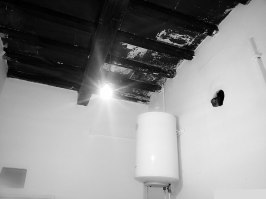 Kitchen ceiling and electric water heater
