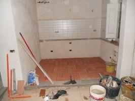 Kitchen terracotto and back-splash tiles, plus new pietra serena step