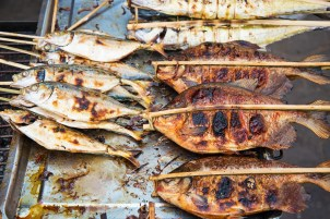 grilled fish in kep market cambodia