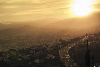 Funchal sunset cityscape hot summer day Madeira Island