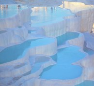 turquoise water travertine pools at pamukkale