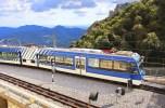 Train arrives to famous Montserrat monastery in Spain