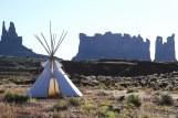 Indian teepee on desert landscape Monument Valley Utah