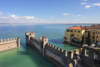 View on Lake Garda and ancient fortification.