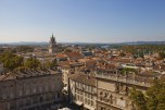 View of historic center in Avignon town. France
