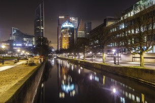 The Hague city skyline reflection