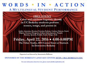 Words in Action: A Multilingual Student Performance, April 22