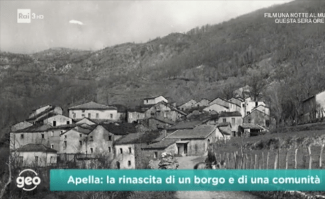 Apella postcard con bisnonno on TV