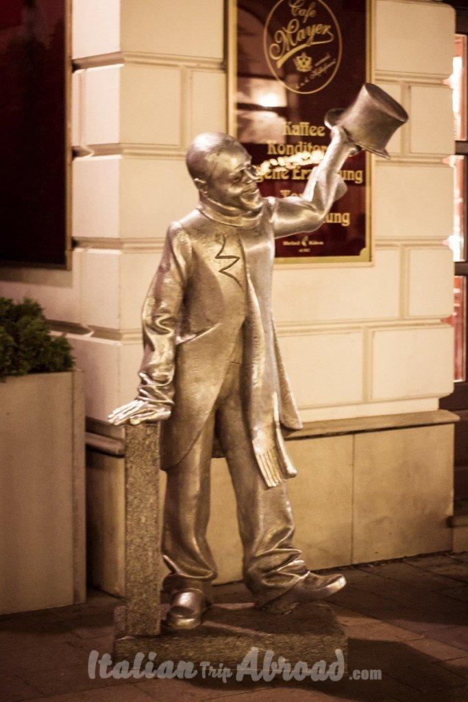 Schone Naci a public figure of Bratislava today a statue in the city centre
