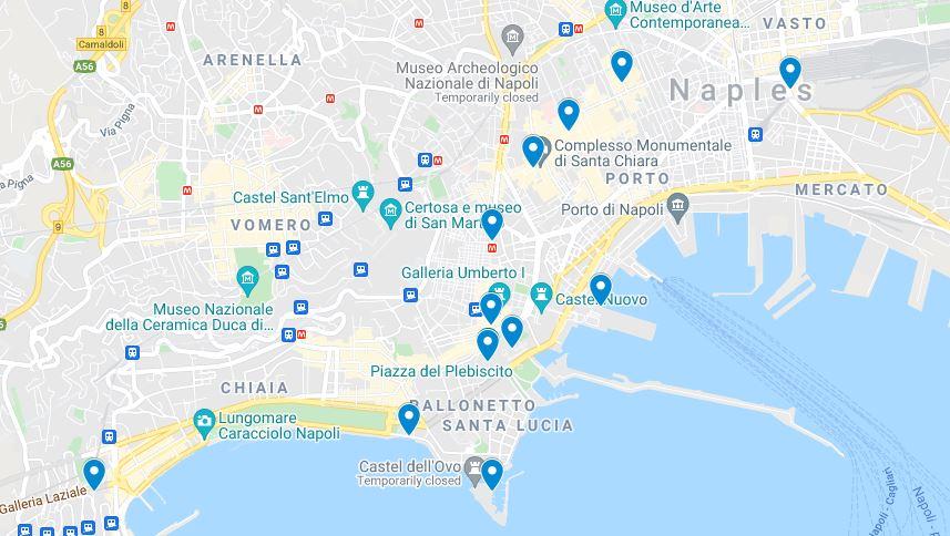 Naples 2 days walking map