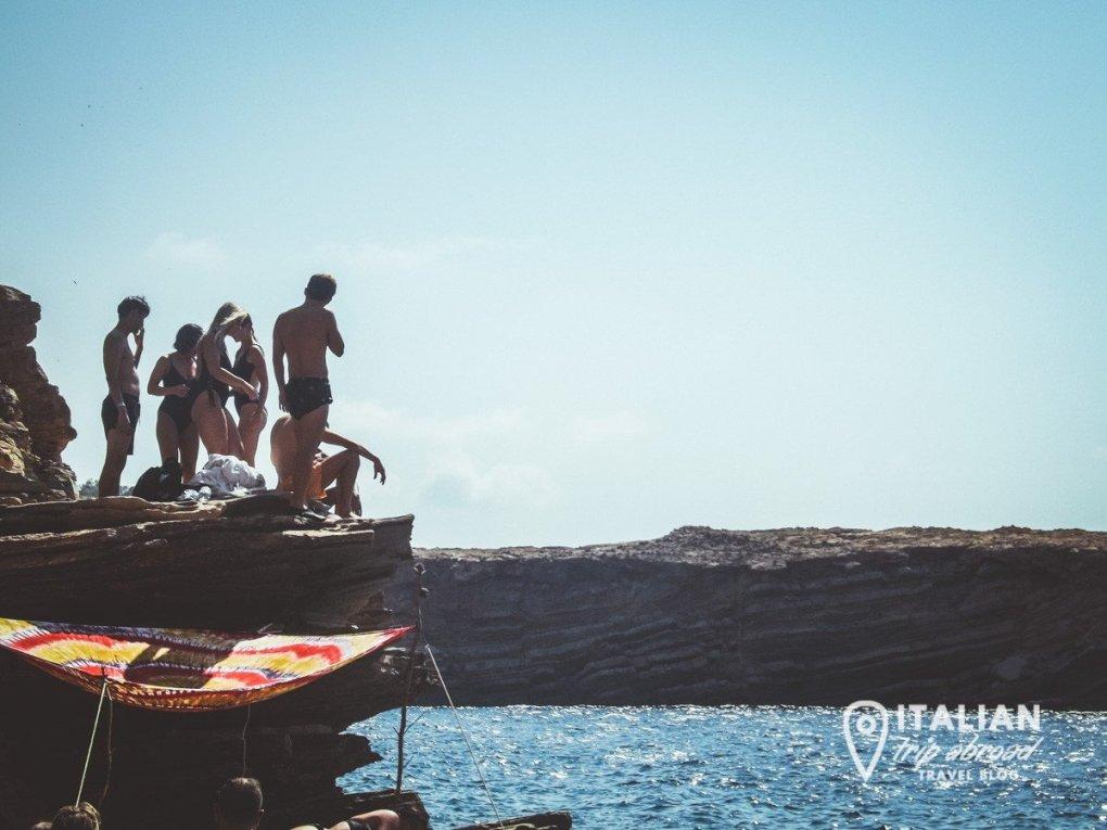 Non touristy things to do in Ibiza - Cliff jumping at Cala Tarida