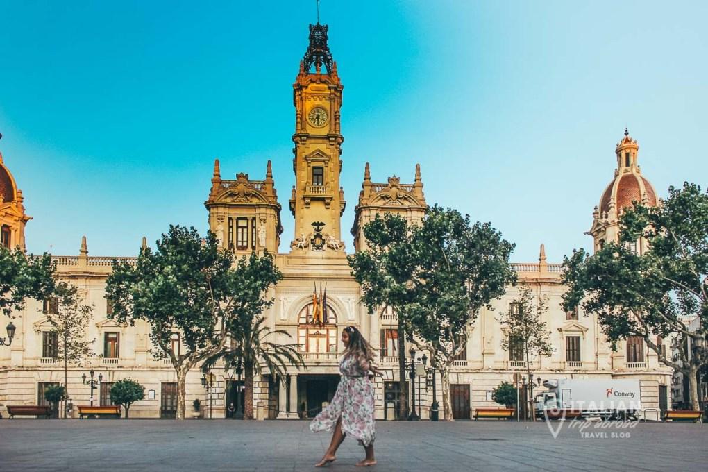 Valencia city hall at the sunrise