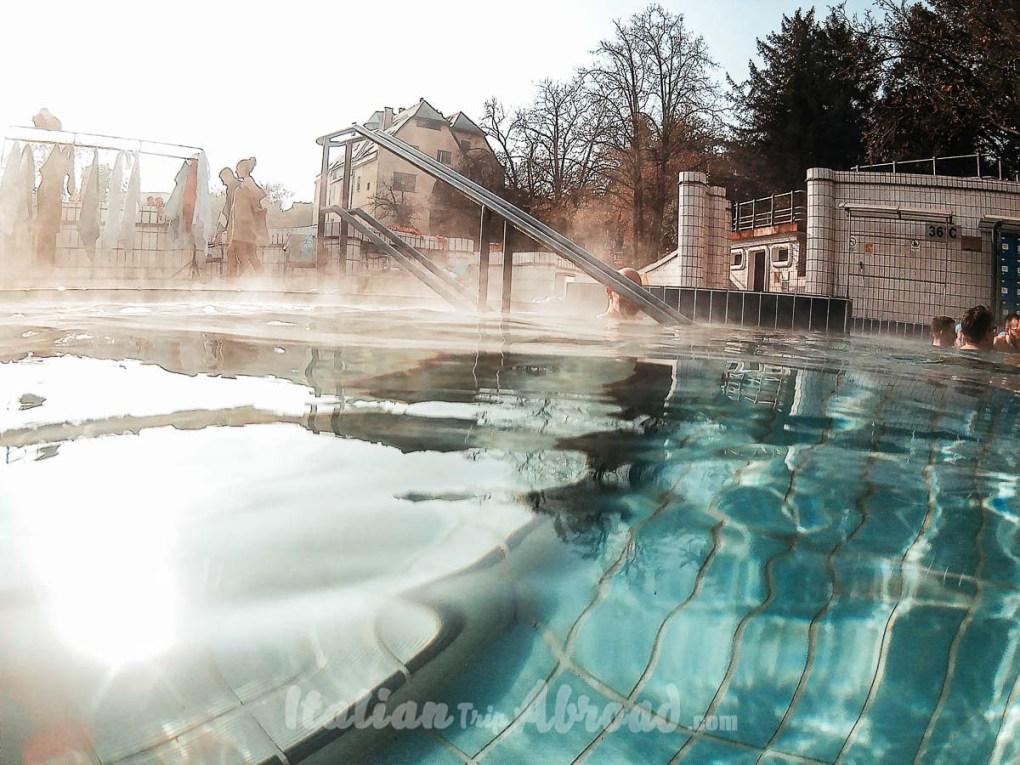 Outdoor pool of Gellért Spa in Budapest