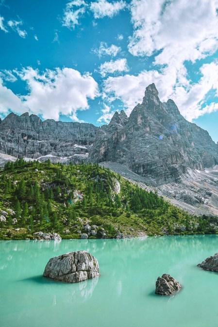 The beautiful Lago di Sorapis at sunrise - Best Dolomites Lakes Italy Mountains