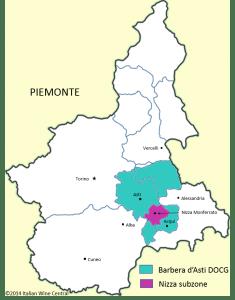 Barbera d'Asti map showing Nizza subzone