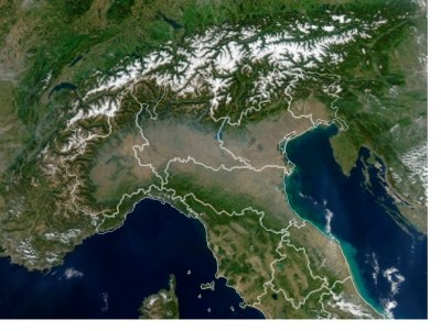 Northern Italian regions satellite view