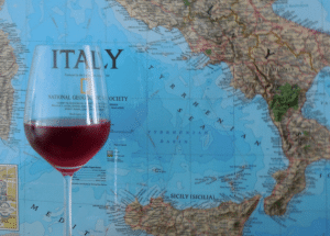 Rosato glass and Italy map