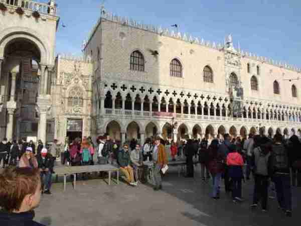 Crowds outside the Doge's Palace in Venice