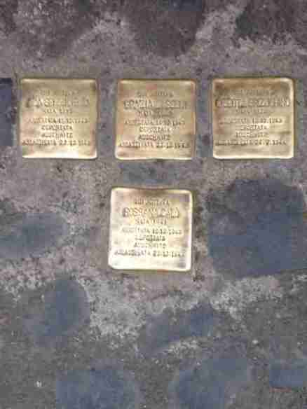 Memorial stones to deported Jews in Rome