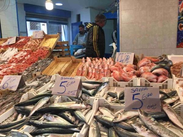 Fish for sale at Ballarò market