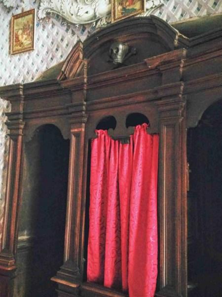 Confessional box at Church of Purgatorio, Terracina
