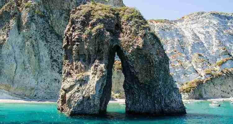 Rock formations along the coast of the island of Ponza