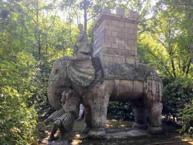 Elephant sculpture in Bomarzo's Parco dei Mostri