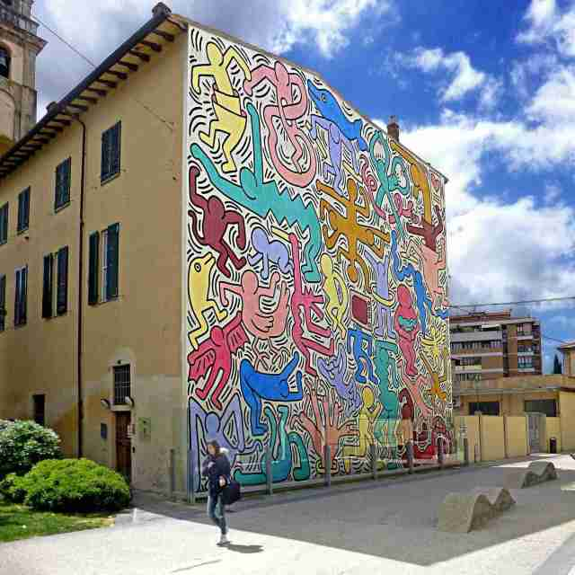 "Keith Haring Mural ""Tuttomondo"" in Pisa, Tuscany"