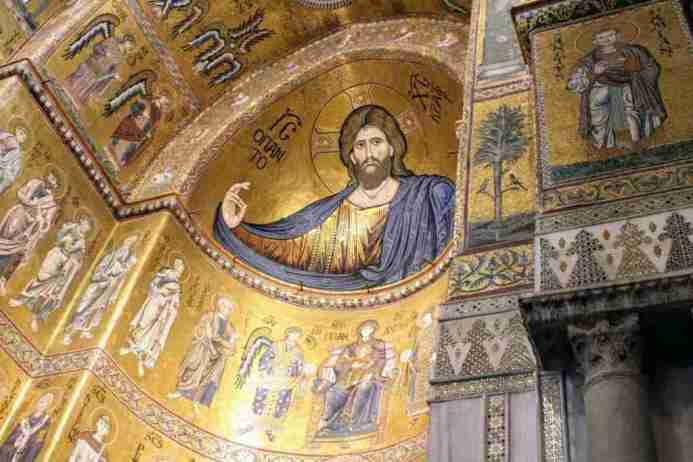 Christ Pantokrator mosaic in the Monreale Cathedral in Sicily