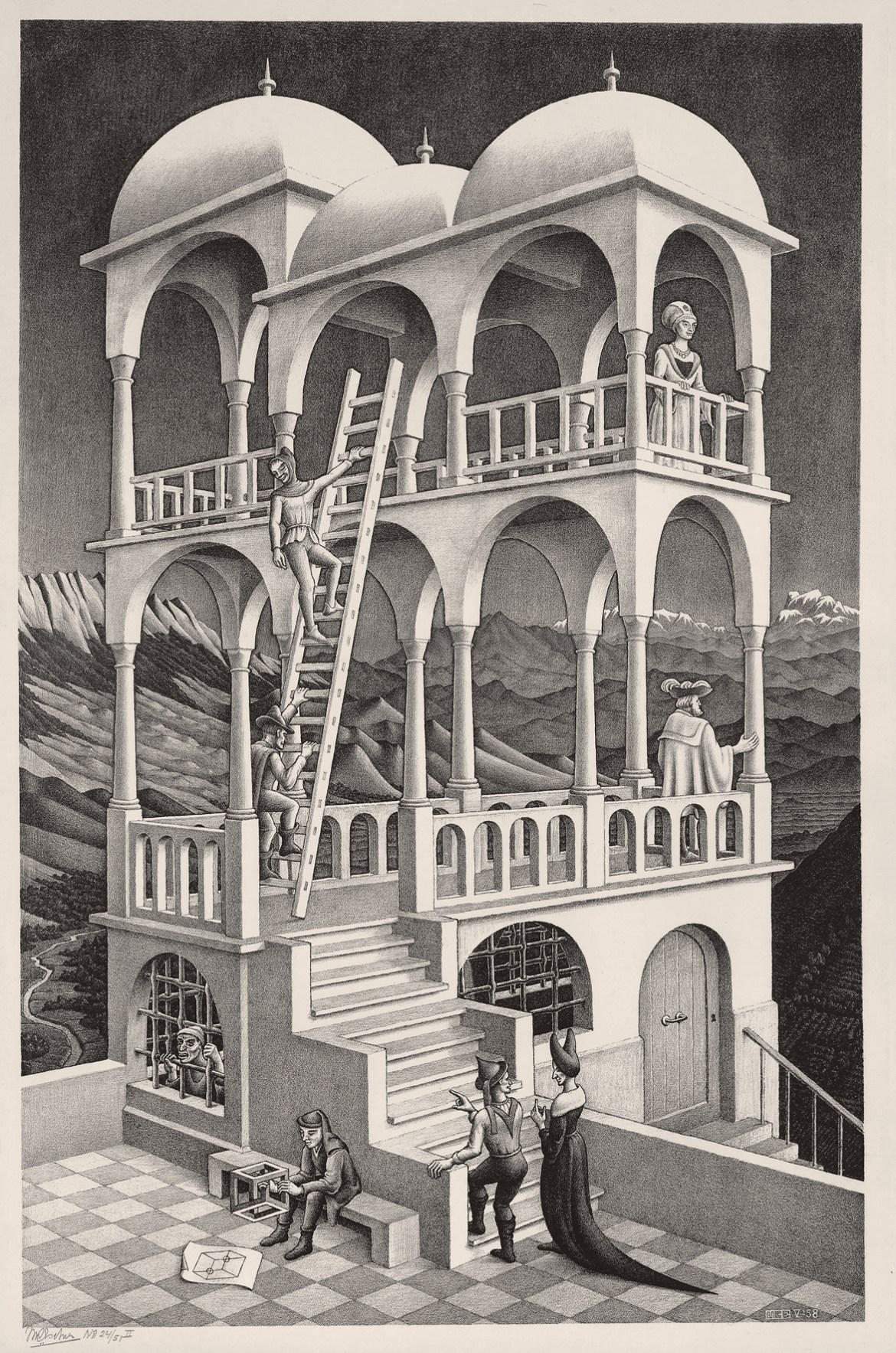 Maurits Cornelis Escher,Belvedere,Maggio 1958, Collezione Federico Giudiceandrea