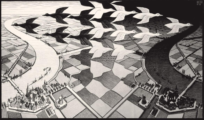 Maurits Cornelis Escher,Giorno e notte,Febbraio 1938, Collezione Federico Giudiceandrea