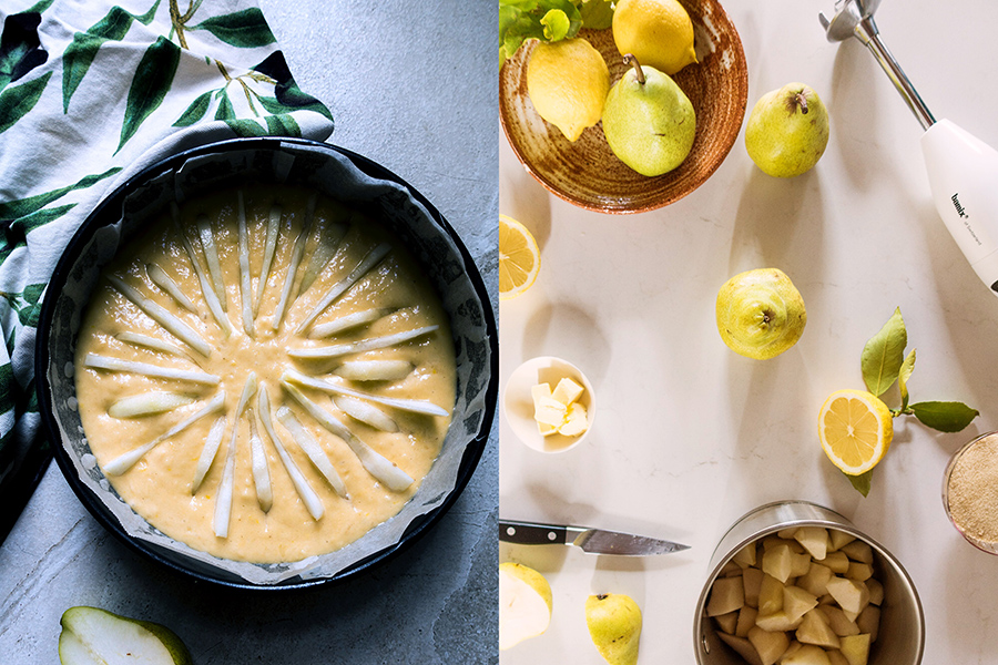 making a brekfast pear cake-italy on my mind