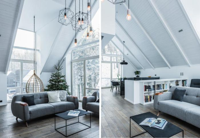interni casa nel bosco arredo nordico minimale