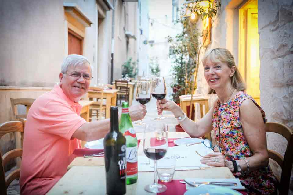 Toasting the first night in the beautiful town of Conversano