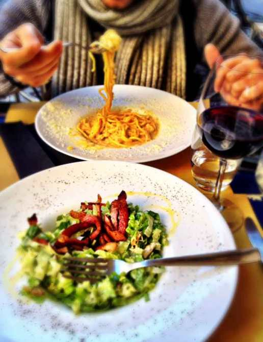 My favorite Caesar salad, with a orange mayonnaise dressing. Cacio e pepe (cheese and pepper) pasta for Simone.