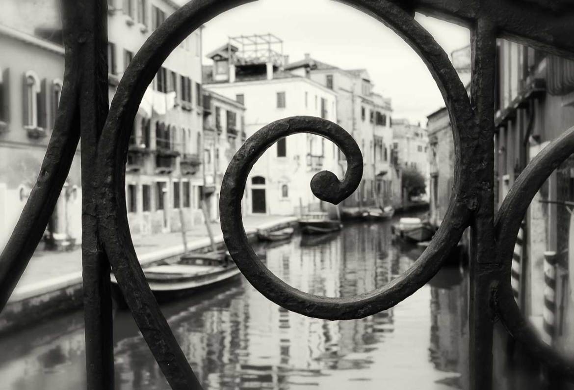 Wrought-iron railings adorn the bridges of Venice and provide unique views of the canals.