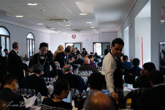 Sala degustazioni dell'Anteprima del Vino Nobile di Montepulciano 2018