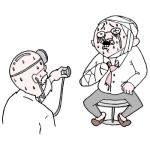 大けがをして病院で診察を受けるおっさんのイラスト