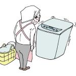 洗濯機前で待機するおっさん