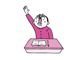すかさず挙手する学生(ピンク色ver)
