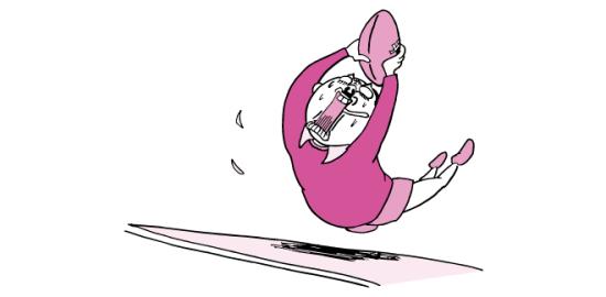 ラグビーでトライするおっさん(ピンク色ver)