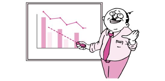 会議でプレゼンするおっさん(ピンク色Ver)のイラスト
