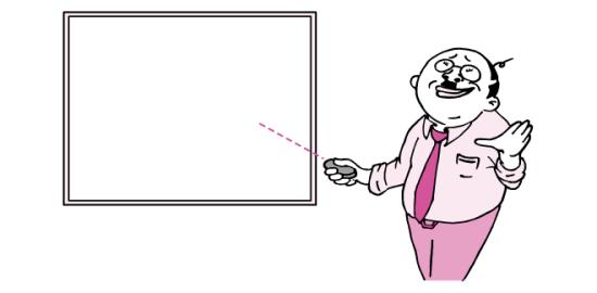 ホワイトボードとおっさん(ピンク色Ver)のイラスト