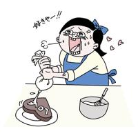 バレンタインのチョコ作りをする女子